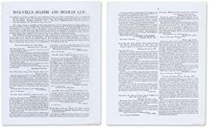 Prospectus for John A Rockwell's Compilation of Spanish and Mexican.: Legal Publishing; John S...