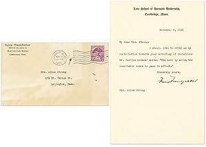 Typed Letter, Signed, On Harvard Law School Letterhead, November 5.: Frankfurter, Felix