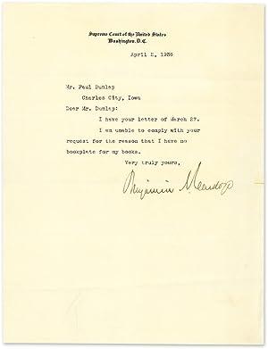 Typewritten Letter Signed On Supreme Court Stationary Washington 1936: Manuscript; Cardozo, ...
