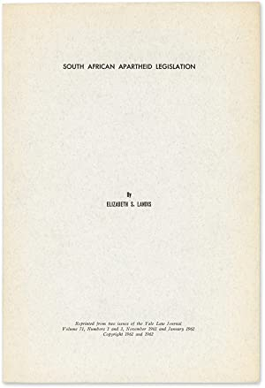 South African Apartheid Legislation: Landis, Elizabeth S.