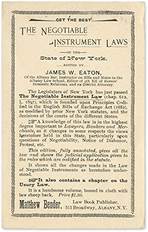 Get the Best: The Negotiable Instrument Laws of the State of New York: Legal Publishing; ...