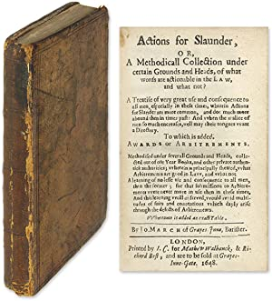 Actions for Slaunder, Or, A Methodicall Collection, Part I Only.: March, John