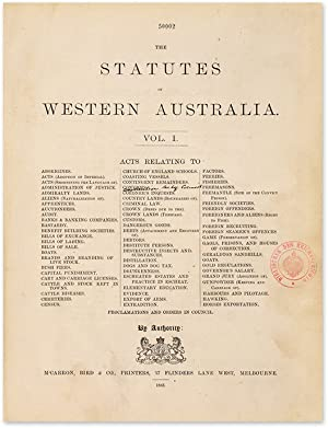The Statutes Of Western Australia. By Authority. 2 volumes: Western Australia