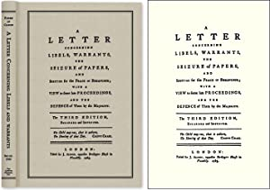 A Letter Concerning Libels, Warrants, The Seizure of Papers, and.: Father of Candor. Almon, John, ...