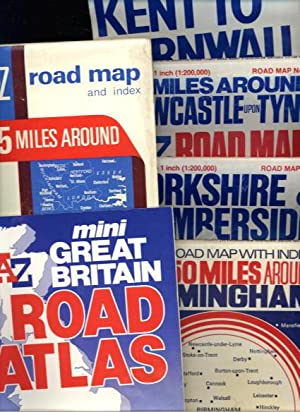 UK Road Maps x6: Kent to Cornwall Holiday Map; 50 Miles Around Newcastle Upon Tyne; Yorkshire & H...