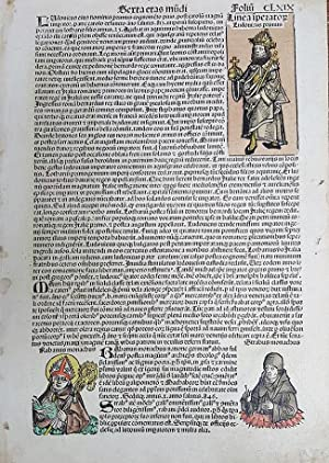 Leaf CLXIX from the 1493 Nurnberg Chronicle with Hand Colored Illustrations of Popes. (Serta Etas ...