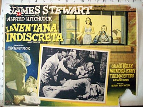 Rear Window Movie Poster La Ventana Indiscreta Mexican Lobby Card