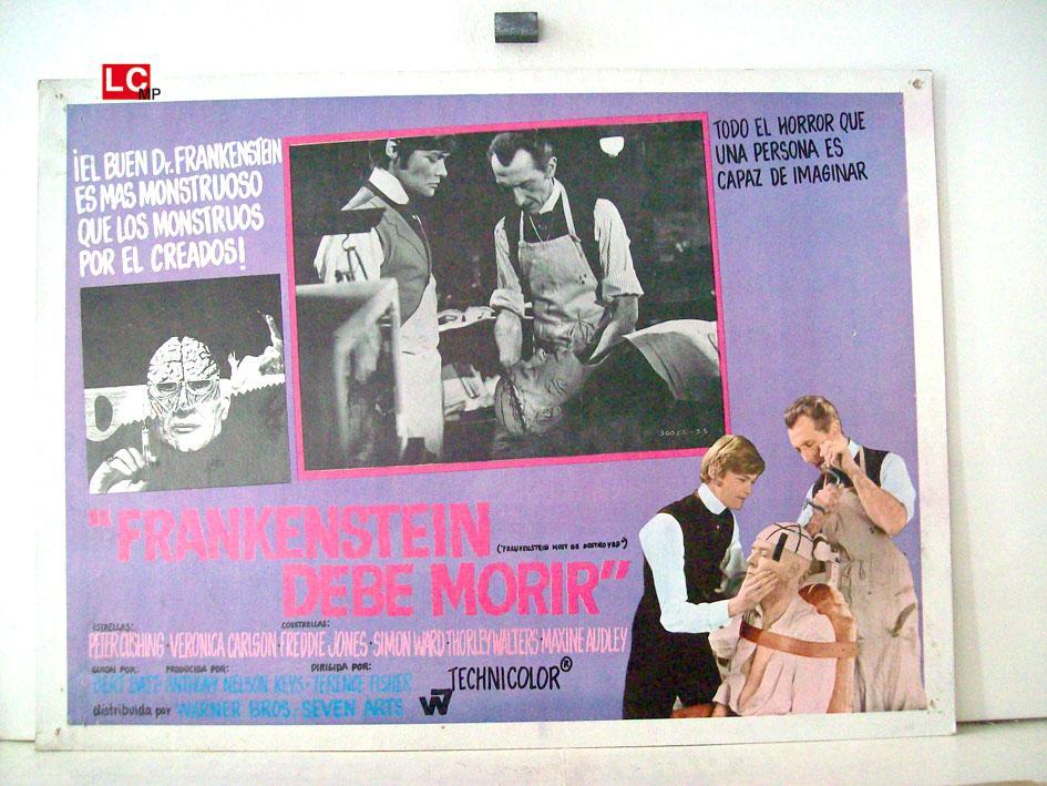 FRANKENSTEIN MUST BE DESTROYED MOVIE POSTER/FRANKENSTEIN DEBE MORIR/MEXICAN LOBBY CARD