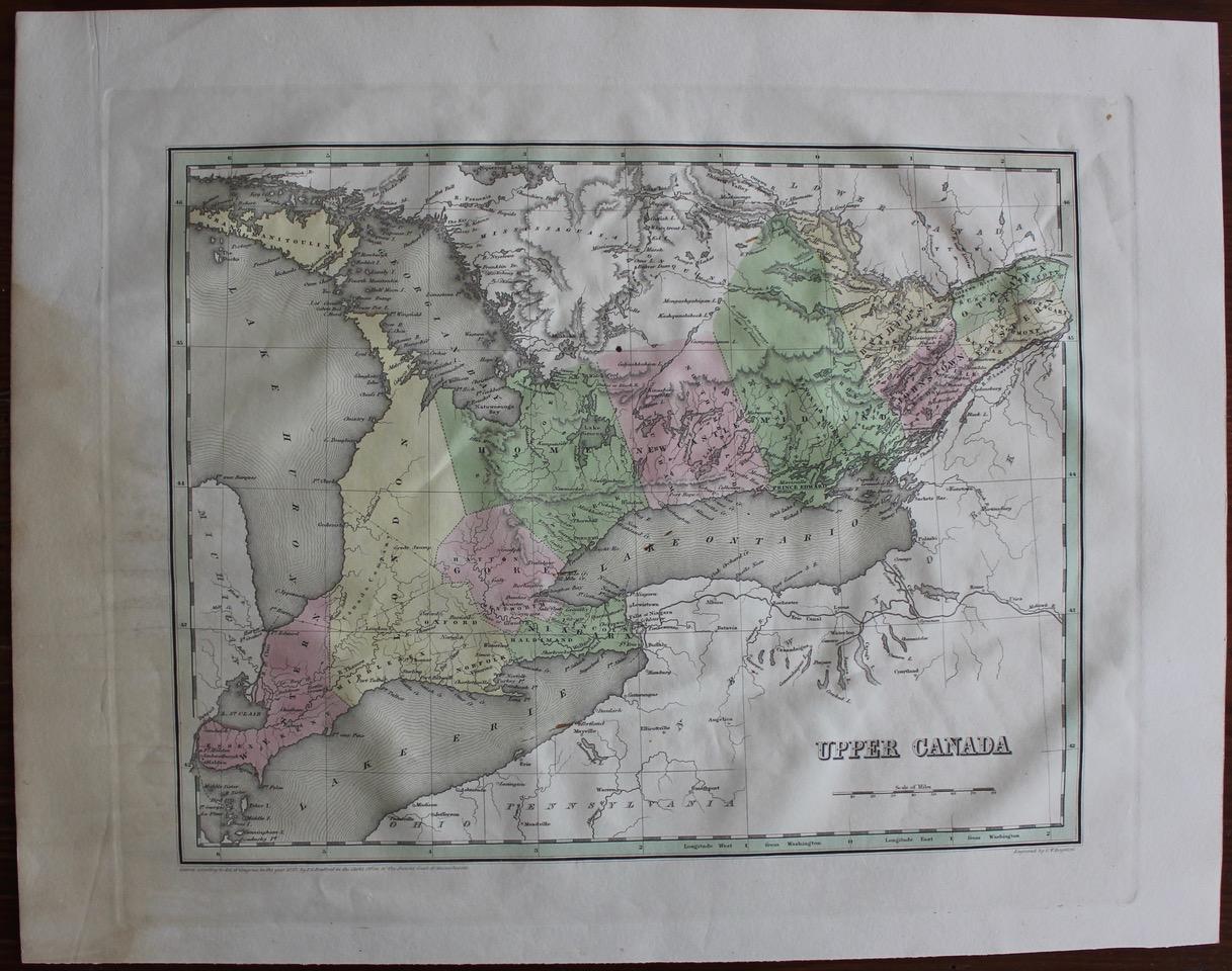 Upper Canada 1838 map by BRADFORD, Thomas G(amaliel). [1802-1887 ...