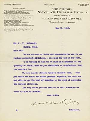 Inspiring, signed original typed letter (TLS) from: WASHINGTON, Booker T(aliaferro).
