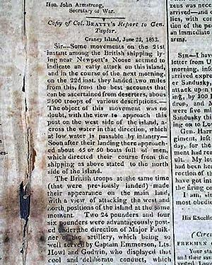 War of 1812 Battle of Craney Island Virginia 1813 July 10, 1813 [Washington] National Intelligencer...