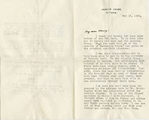 Typed signed personal letter (TSL) May 13,: KING, William Lyon
