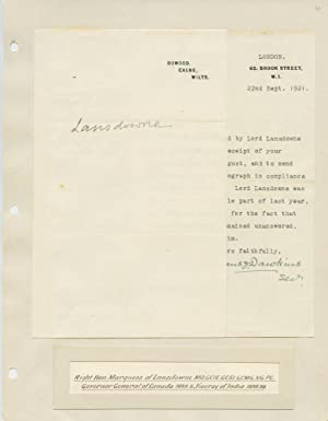 5th Governor General of Canada (1883-88) Marques of Landsdowne signature: PETTY-FITZMAURICE, Henry ...