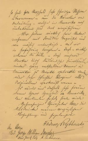 Autograph Signed Letter (ASL) of Tadeusz Rybkowski: RYBKOWSKI, Tadeusz (Polish,