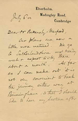 Autographed Signed Letter (ASL) from F.C. (Francis: BURKITT, Francis Crawford
