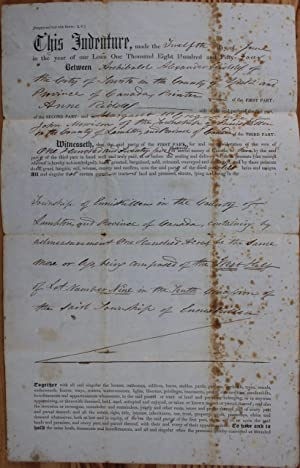 Indenture for the sale of land in: RIDDELL, A.A. (Alexander