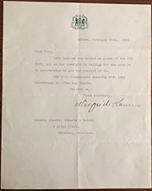 Typed Letter Wilfrid Laurier signed on House of Commons letterhead, February 25th, 1914, to lawye...
