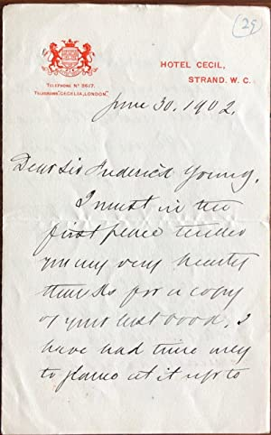 Autograph Letter Signed by Wilfrid Laurier while in office as Prime Minister of Canada, to Sir Fr...