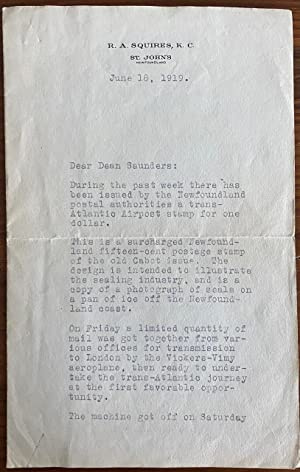Richard Andersen Squires, Typed Letter Signed regarding Newfoundland stamp