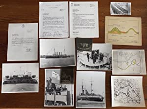 Collection of a group 13 items of miscellaneous, ephemera, letters and photographs of Navy ships ...