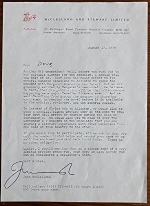 Jack McClelland typed letter signed promoting an advance signed copy of Margaret Atwood's