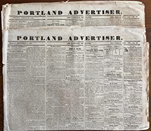 Two (2) Portland Advertiser newspapers 1837 Lower Canada Rebellion articles