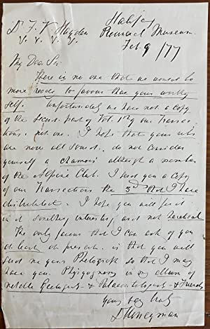 David Honeyman holograph letter to F. V. Hagden