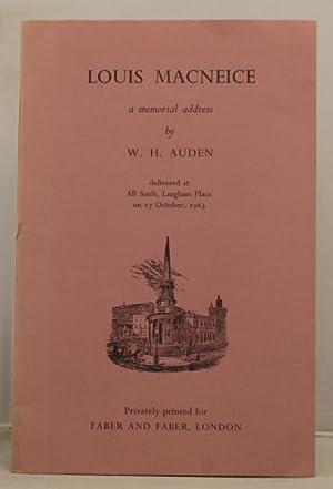 Louis Macneice a memorial address: Auden W.H.