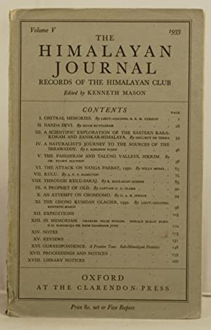 The Himalayan Journal records of the Himalayan club. Vol V, 1933: Mason, Kenneth (editor)