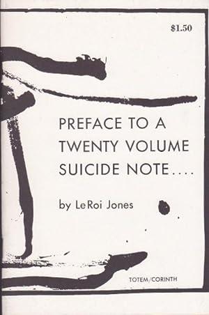 Preface to a Twenty Volume Suicide Note.: Jones, LeRoi [Amiri