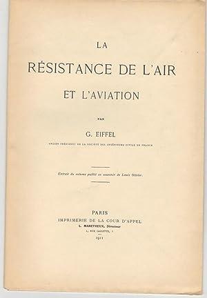 La résistance de l'air et l'aviation.: EIFFEL Gustave