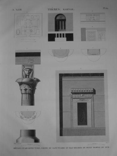 DESCRIPTION DE L'EGYPTE. Thèbes. Karnak. Détails d'architecture en coupe du sanctuaire et bas-reliefs du petit temple du Sud. (ANTIQUITES, volume III
