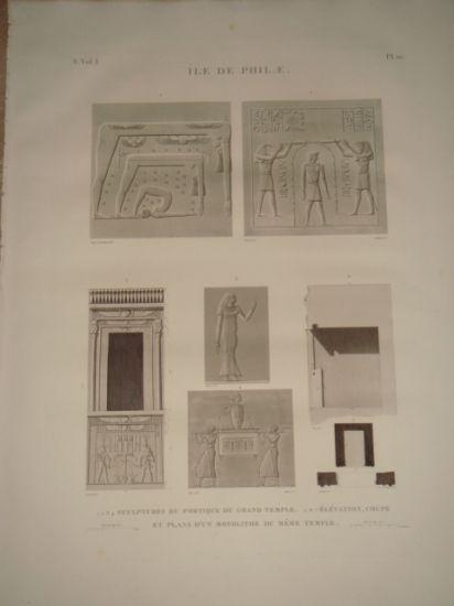 DESCRIPTION DE L'EGYPTE. Ile de Philae. Sculptures du portique du grand temple, Élévation, coupe et plans d'un monolithe du même temple. (ANTIQUITES,