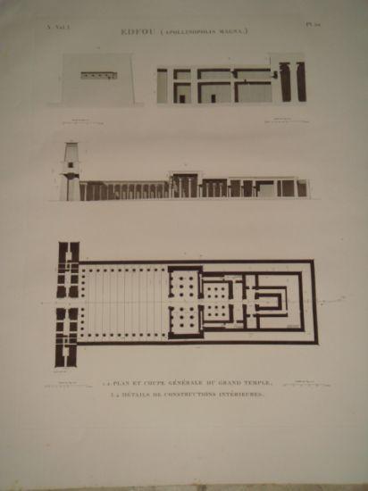 DESCRIPTION DE L'EGYPTE. Edfou (Apollinopolis magna). Plan et coupe générale du grand temple, Détails de constructions intérieures. (ANTIQUITES, volu