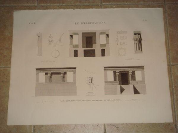 DESCRIPTION DE L'EGYPTE. Ile d'Eléphantine. Plan, coupe, élévations, détails et bas-reliefs du temple du sud. (ANTIQUITES, volume I, planche 35) JOMA