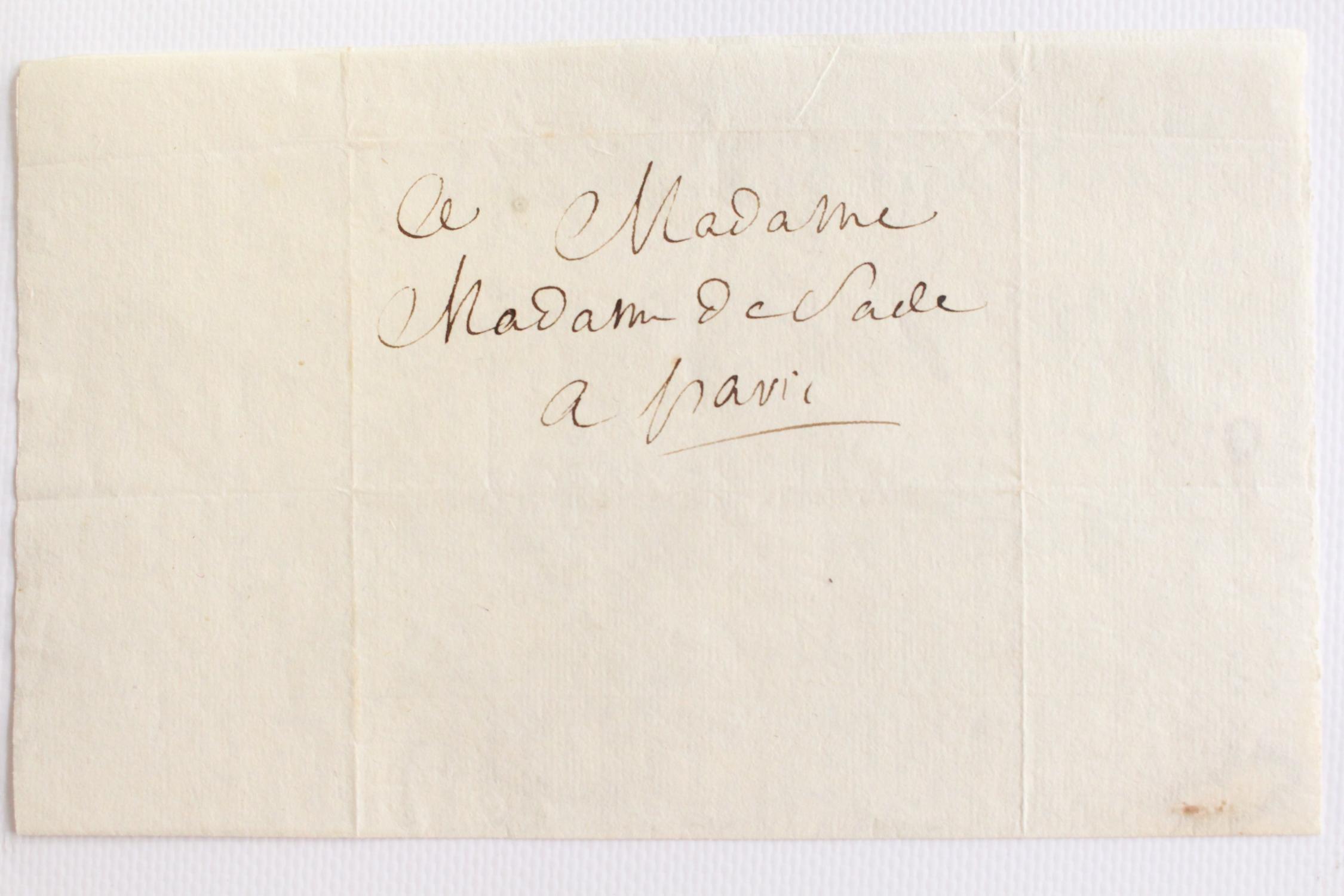 Lettre autographe inédite à sa femme. L oeil du Marquis   « . et ... 27ff17b984a4