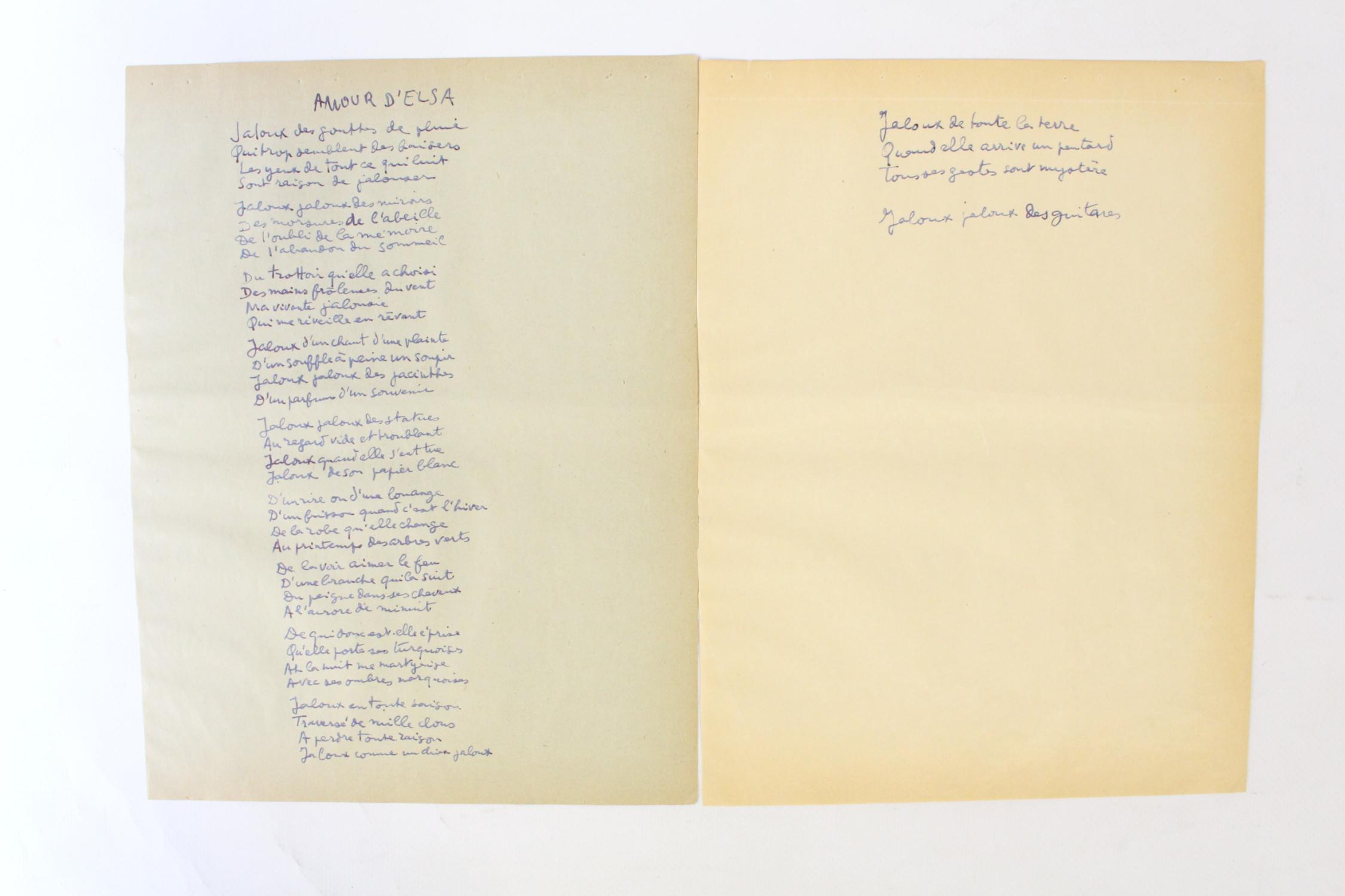 Poème Manuscrit Amour Delsa
