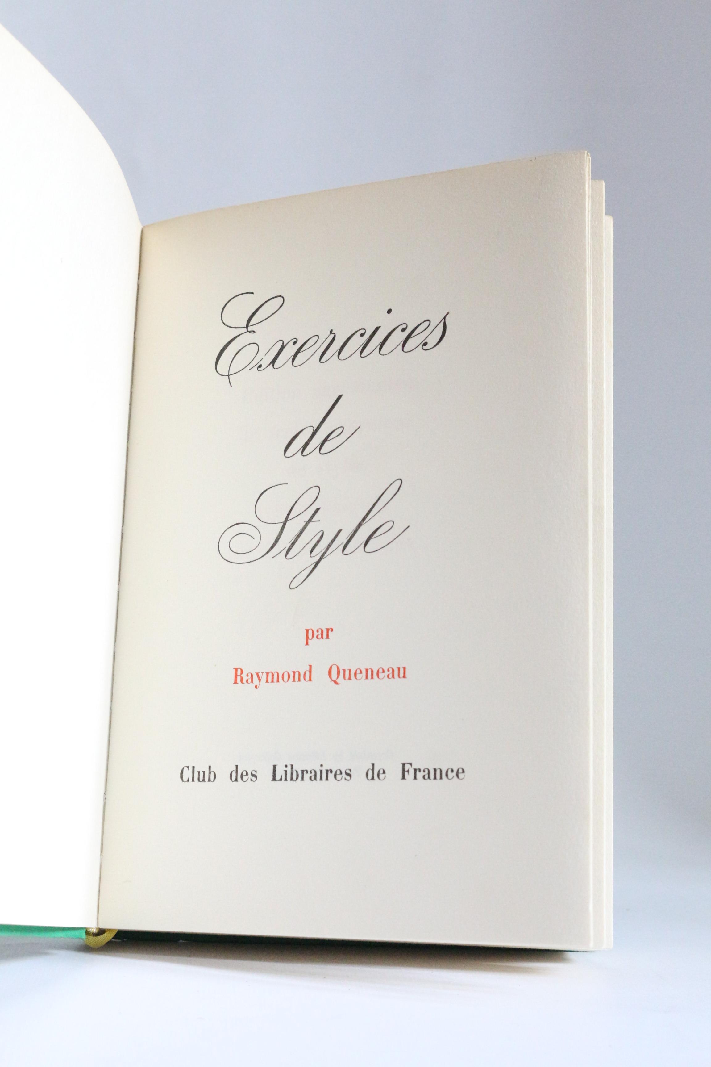 Exercices de style by QUENEAU Raymond: Couverture rigide ...