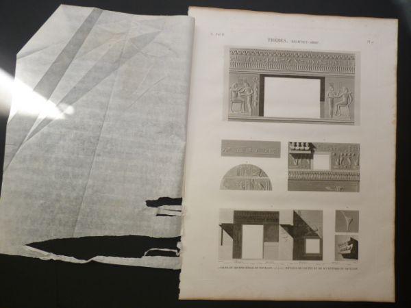 DESCRIPTION DE L'EGYPTE. Thèbes. Medynet-Abou. Coupe du second étage du pavillon, Détails de coupes et de sculptures du pavillon. (ANTIQUITES, volume
