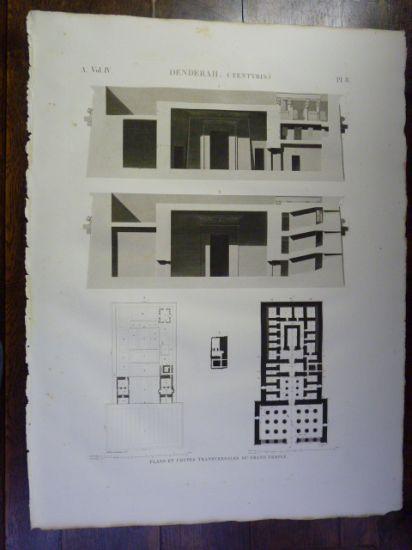 DESCRIPTION DE L'EGYPTE. Denderah (Tentyris). Plans et coupes transversales du grand temple. (ANTIQUITES, volume IV, planche 8) JOLLOIS Jean-Baptiste