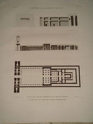 DESCRIPTION DE L'EGYPTE. Edfou (Apollinopolis magna). Plan et coupe générale du ...