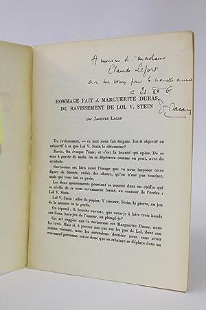 Hommage fait à Marguerite Duras du Ravissement: LACAN Jacques