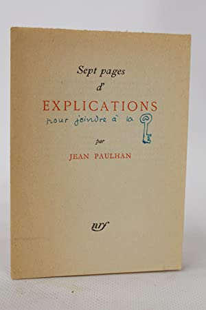 Sept pages d'explication: PAULHAN Jean
