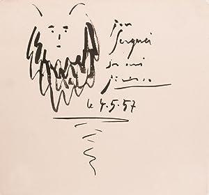 Linogravures enrichi d'un dessin original signé. -: PICASSO Pablo
