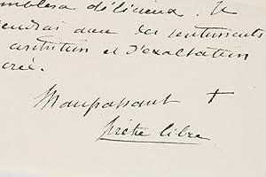 Lettre autographe signée à la Comtesse Potocka: MAUPASSANT Guy de