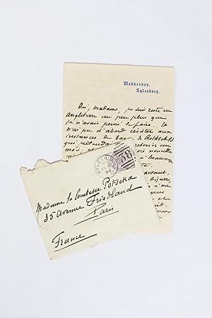 Lettre autographe signée et enveloppe adressée à: MAUPASSANT Guy de