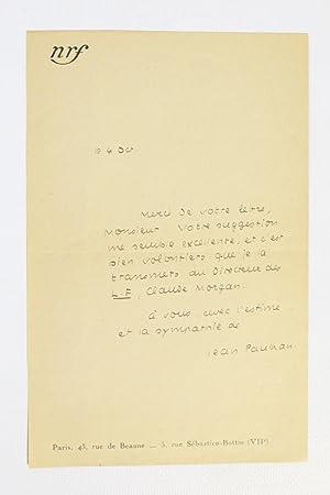 Lettre autographe signée de Jean Paulhan à: PAULHAN Jean