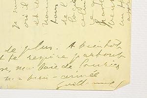 Lettre autographe signée à Lou: APOLLINAIRE Guillaume