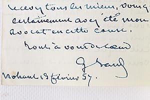 Lettre autographe signée de George Sand à: SAND George (DOUCET