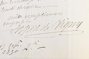 Lettre autographe inédite signée d'Alfred de Vigny: VIGNY Alfred de